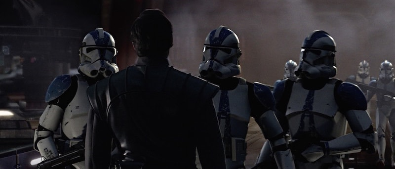 Clone troopers instructing Bail Organa to leave the Jedi Temple