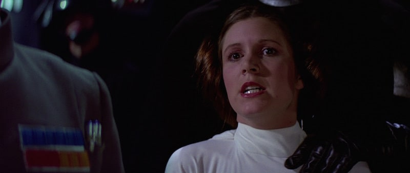 Princess Leia watching as the Death Star destroys Alderaan