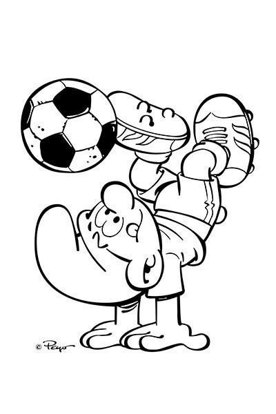 Die Schlümpfe Malvorlage Fussballer