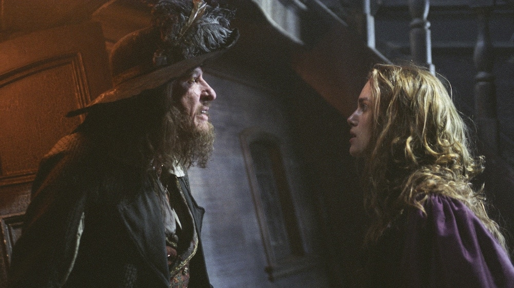 "Actors Geoffrey Rush (Captain Barbosa) and Keira Knightley (Elizabeth Swann) from ""Pirates of the Caribbean"""