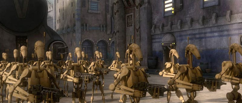 Separatist battle droids during The Clone Wars