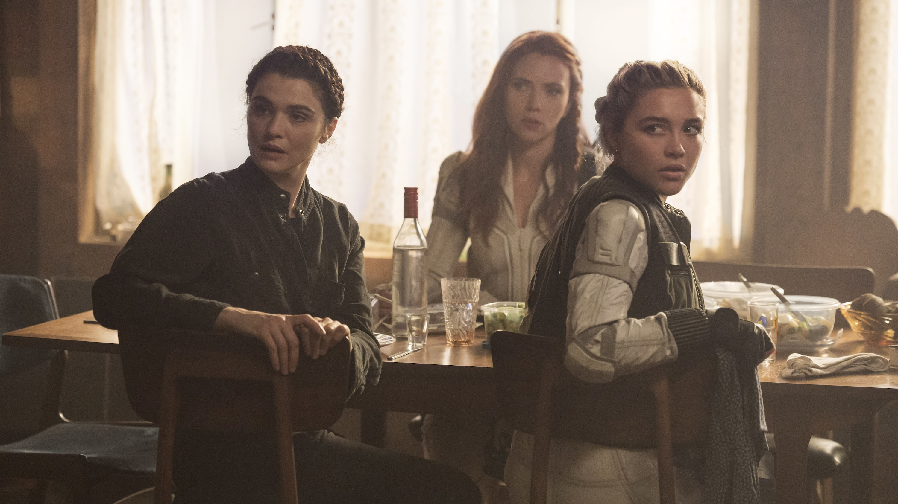 (L-R): Melina (Rachel Weisz), Black Widow/Natasha Romanoff (Scarlett Johansson) and Yelena (Florence Pugh) in Marvel Studios' BLACK WIDOW, in theaters and on Disney+ with Premier Access. Photo by Jay Maidment. ©Marvel Studios 2021. All Rights Reserved.