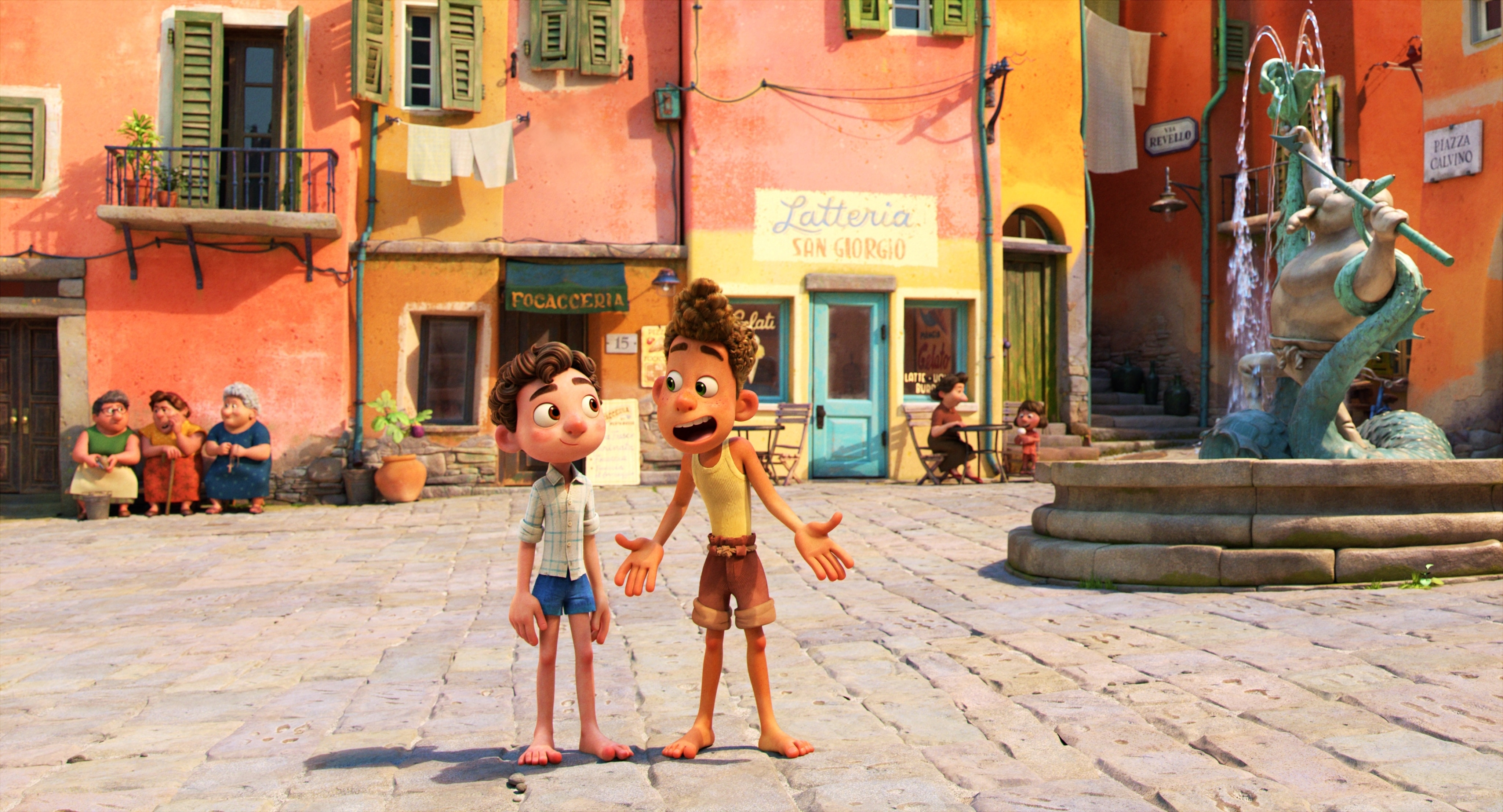 """Set in a beautiful seaside town on the Italian Riviera, Disney and Pixar's """"Luca"""" is a coming-of-age story about a boy and his newfound best friend experiencing an unforgettable summer filled with gelato, pasta and endless scooter rides. But their fun is threatened by a secret: they are sea monsters from another world. """"Luca"""" is directed by Enrico Casarosa (""""La Luna"""") and produced by Andrea Warren (""""Lava,"""" """"Cars 3""""). © 2021 Disney/Pixar. All Rights Reserved."""