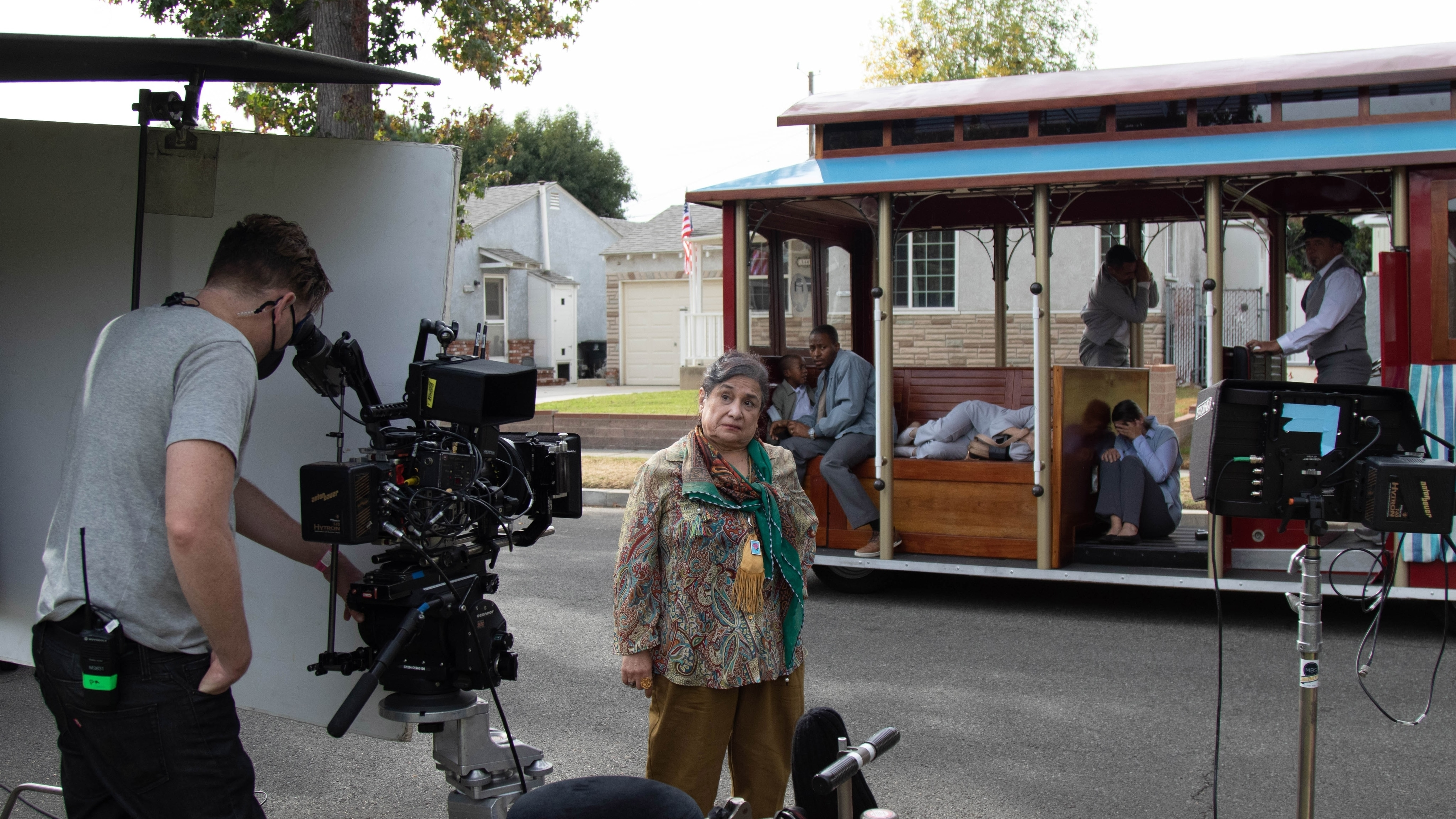 """Melba Martinez, PHD as Chepa on the set of Disney's """"LAUNCHPAD"""" Season One short, """"THE LAST OF THE CHUPACABRAS,""""Written and Directed by Jessica Mendez Siqueiros.Photo courtesy of Disney. © 2021 Disney Enterprises, Inc. All Rights Reserved."""