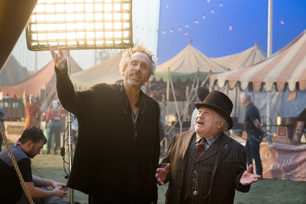 tim burton and danny devito on the set of dumbo