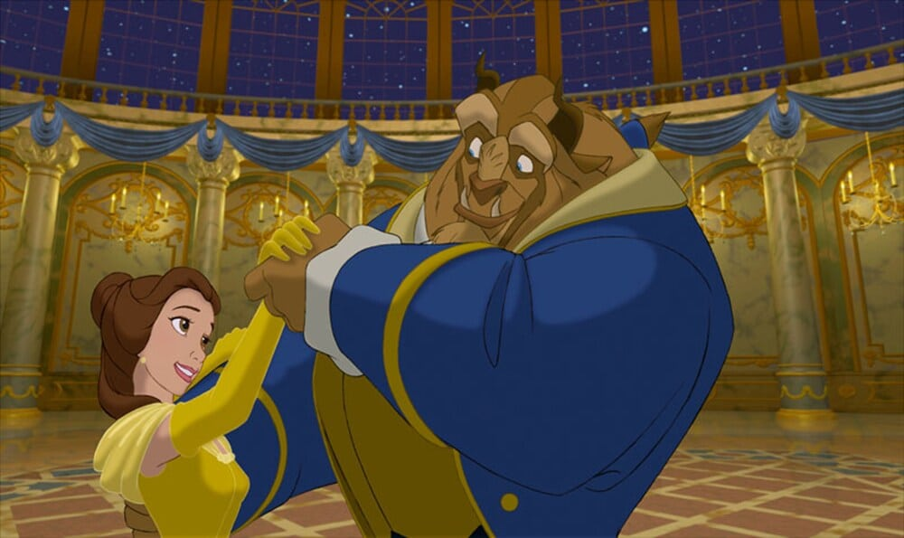 """Belle and the Beast dancing in the animated movie """"Beauty and the Beast"""""""