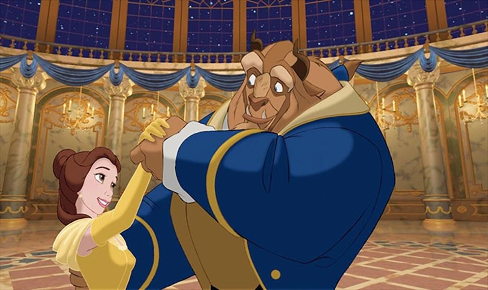 Animated characters Belle and Beast dancing in a ballroom