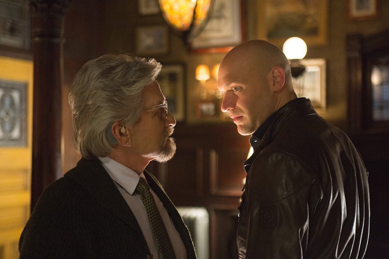 Michael Douglas (as Hank Pym) and Corey Stoll (as Darren Cross) in the movie Ant-Man