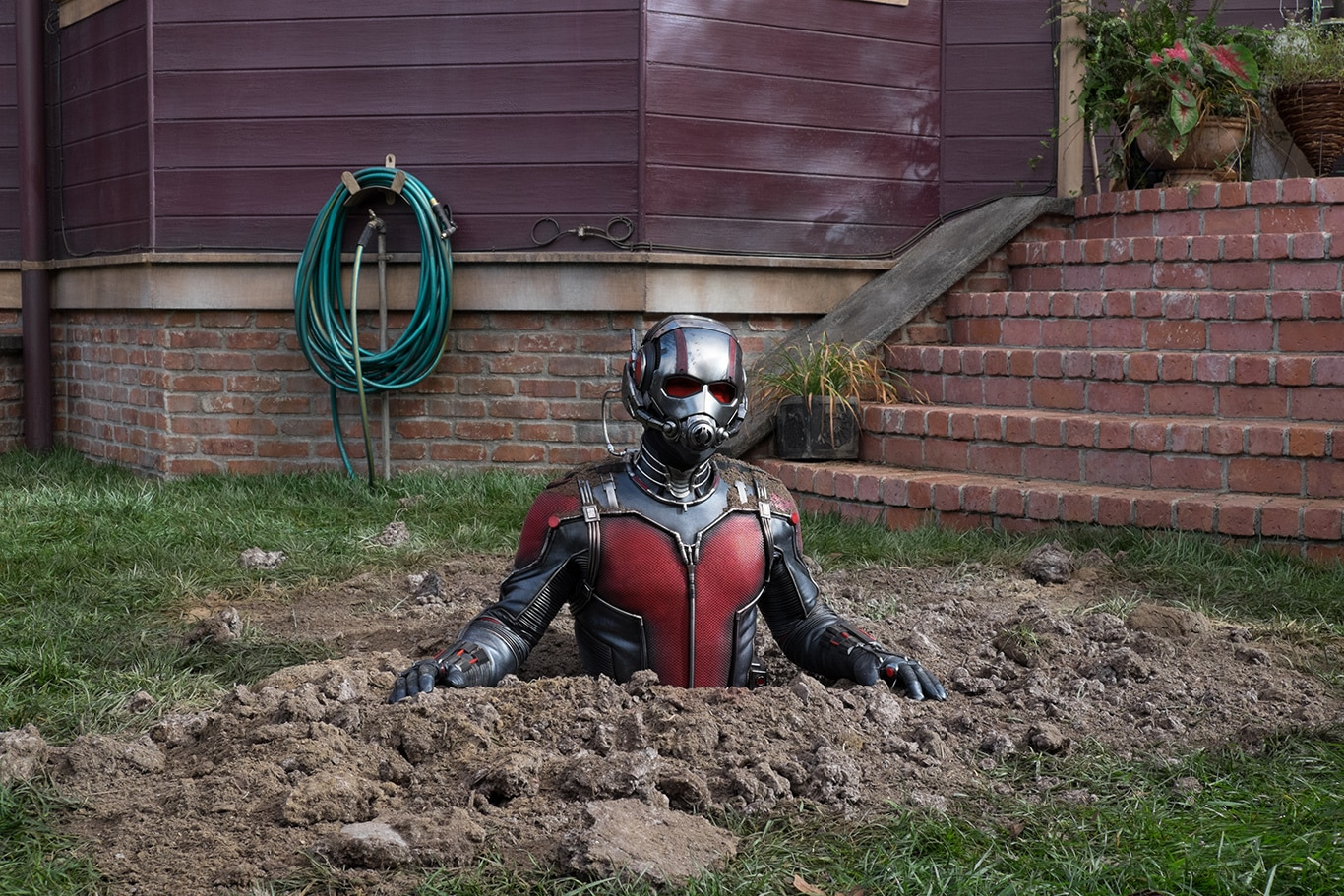 Ant-Man in a halfway in a hole in the movie Ant-Man