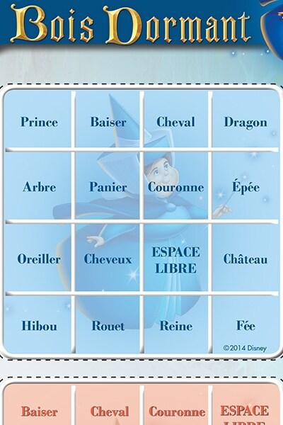 Bingo de la Belle au Bois Dormant
