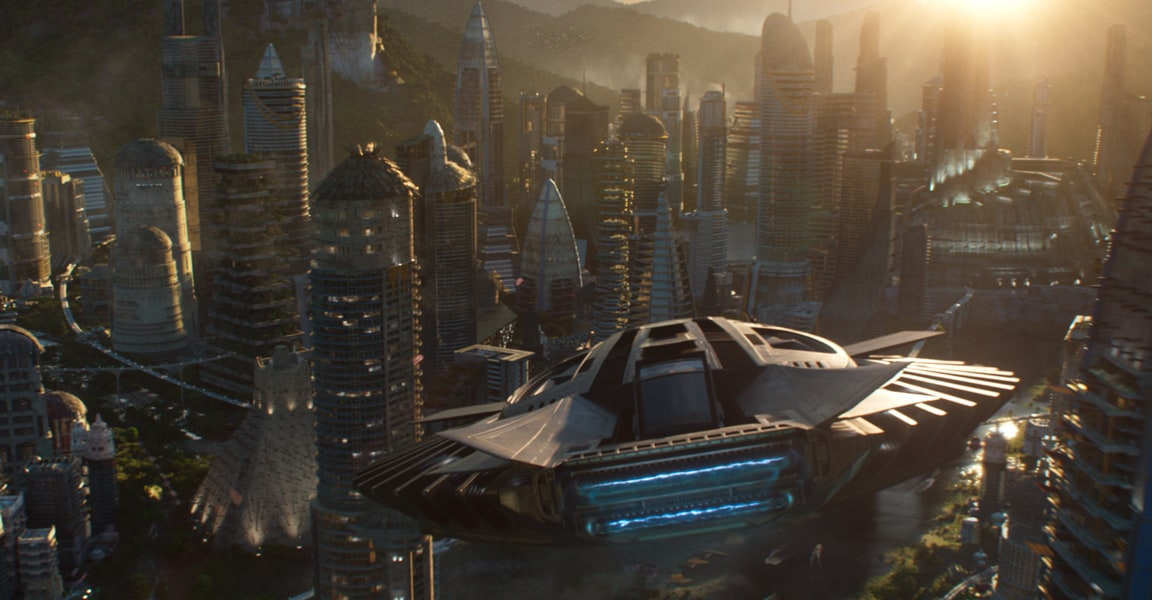 Black Panther's spaceship flying through the Golden City in Wakanda