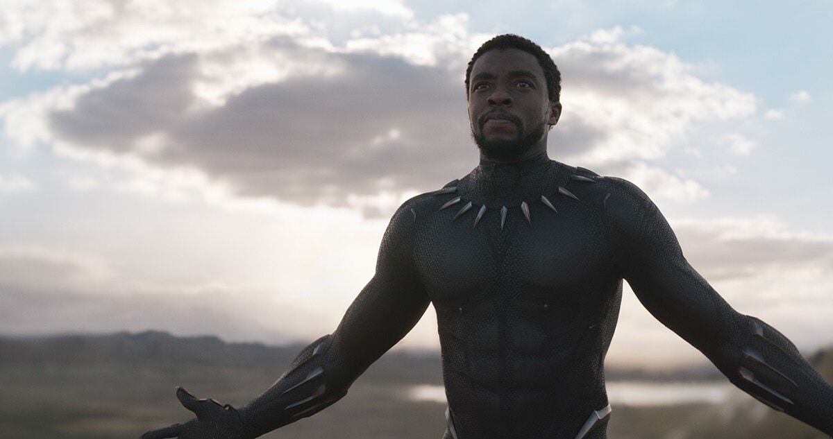 Black Panther staring into the sky