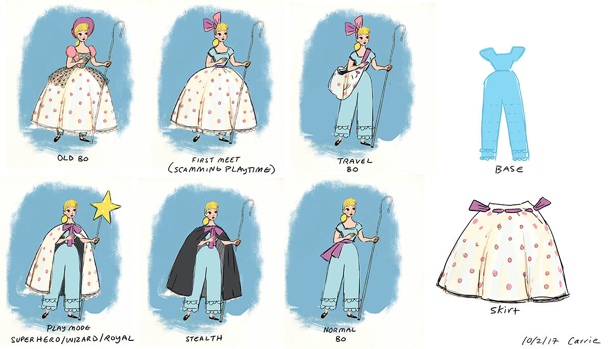 Co Peep Character design concept art: Old Bo, (First meeet scamming playtime), Travel Bo, Play mode - Superhero/wizard/royal, Stealth, Normal Bo, Base, Skirt 10/2/17 Carrie