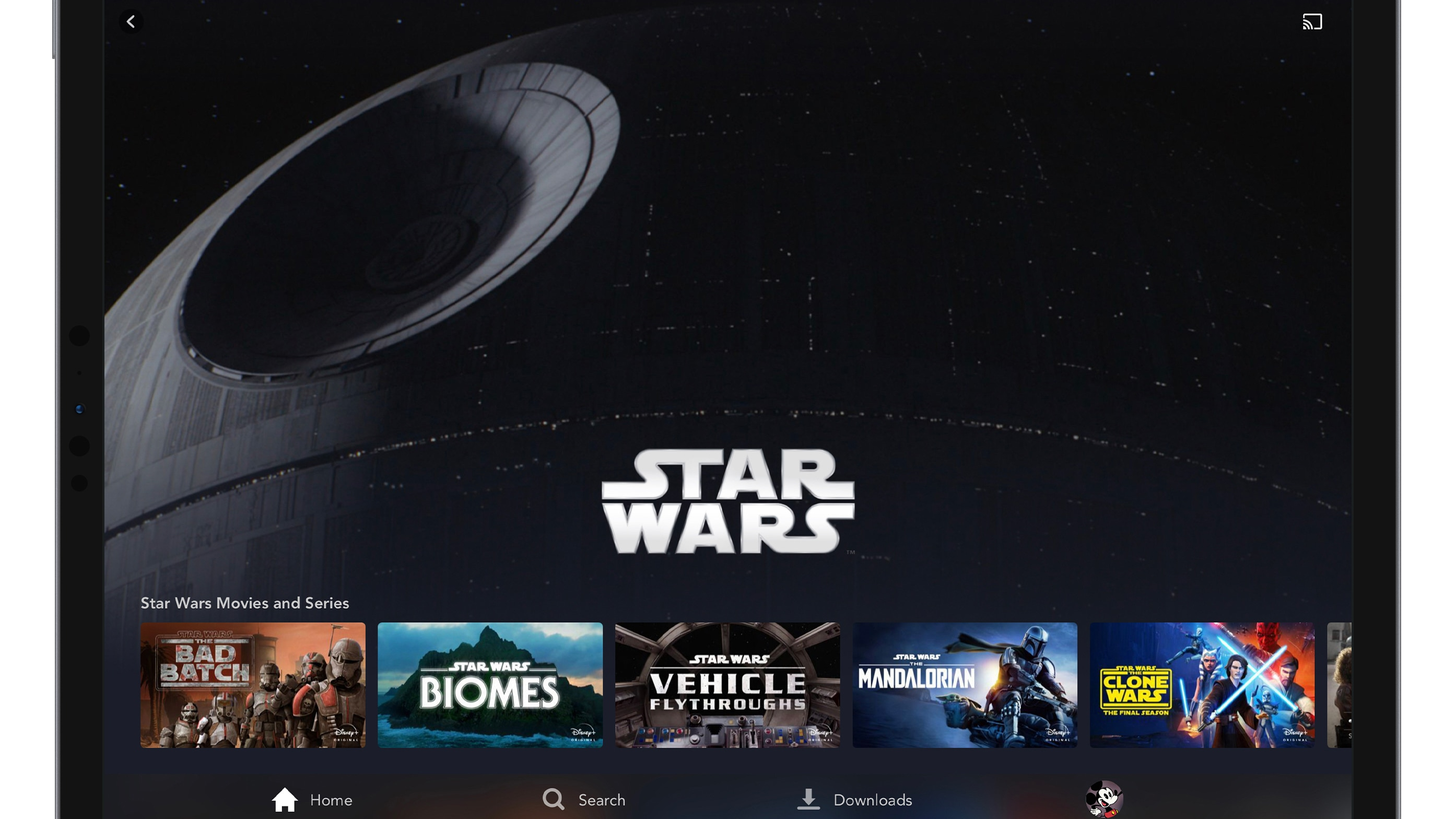 Disney+ Brand Landing Page on Tablet Device