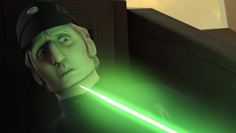Brom Titus staring into the lightsaber blade of Ezra Bridger