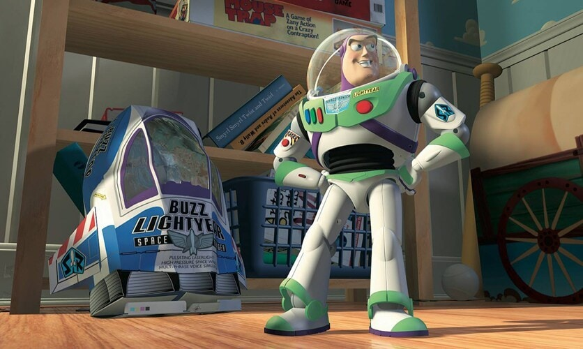 """Animated character Buzz Lightyear posing in the film """"Toy Story"""""""