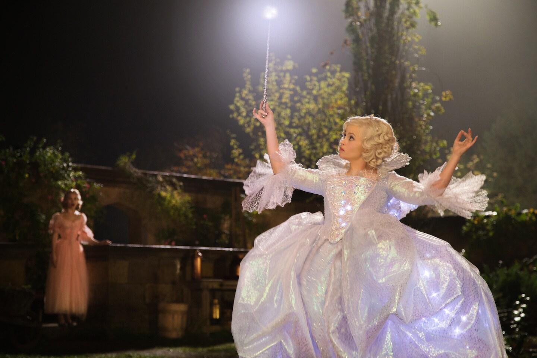 Actor Helena Bonham Carter (as the Fairy Godmother) in the movie Cinderella.