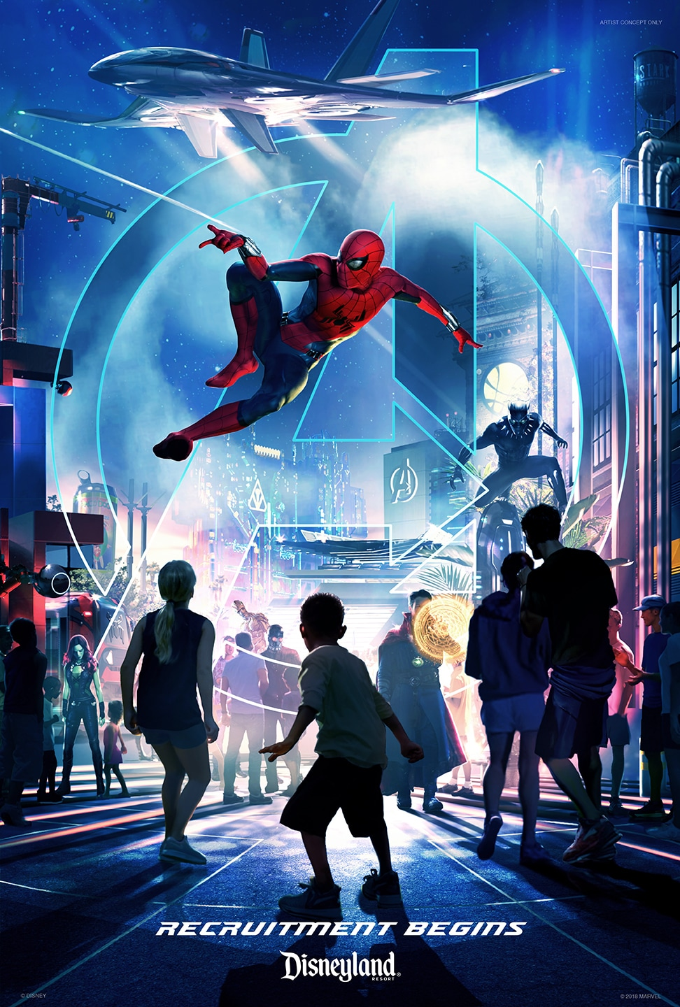 Spiderman shoots web from his wrist in a poster for a new attraction at Disneyland resort.