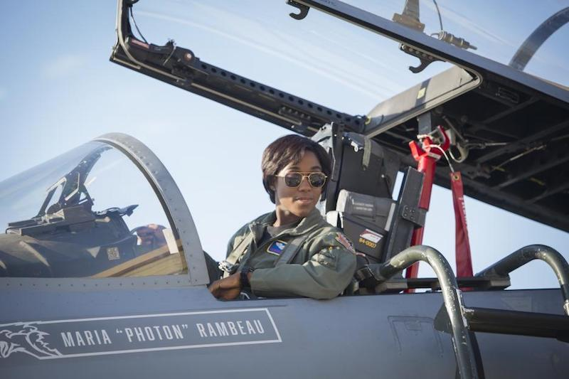 "Maria ""Photon"" Rambeau in cockpit of her fighter jet"