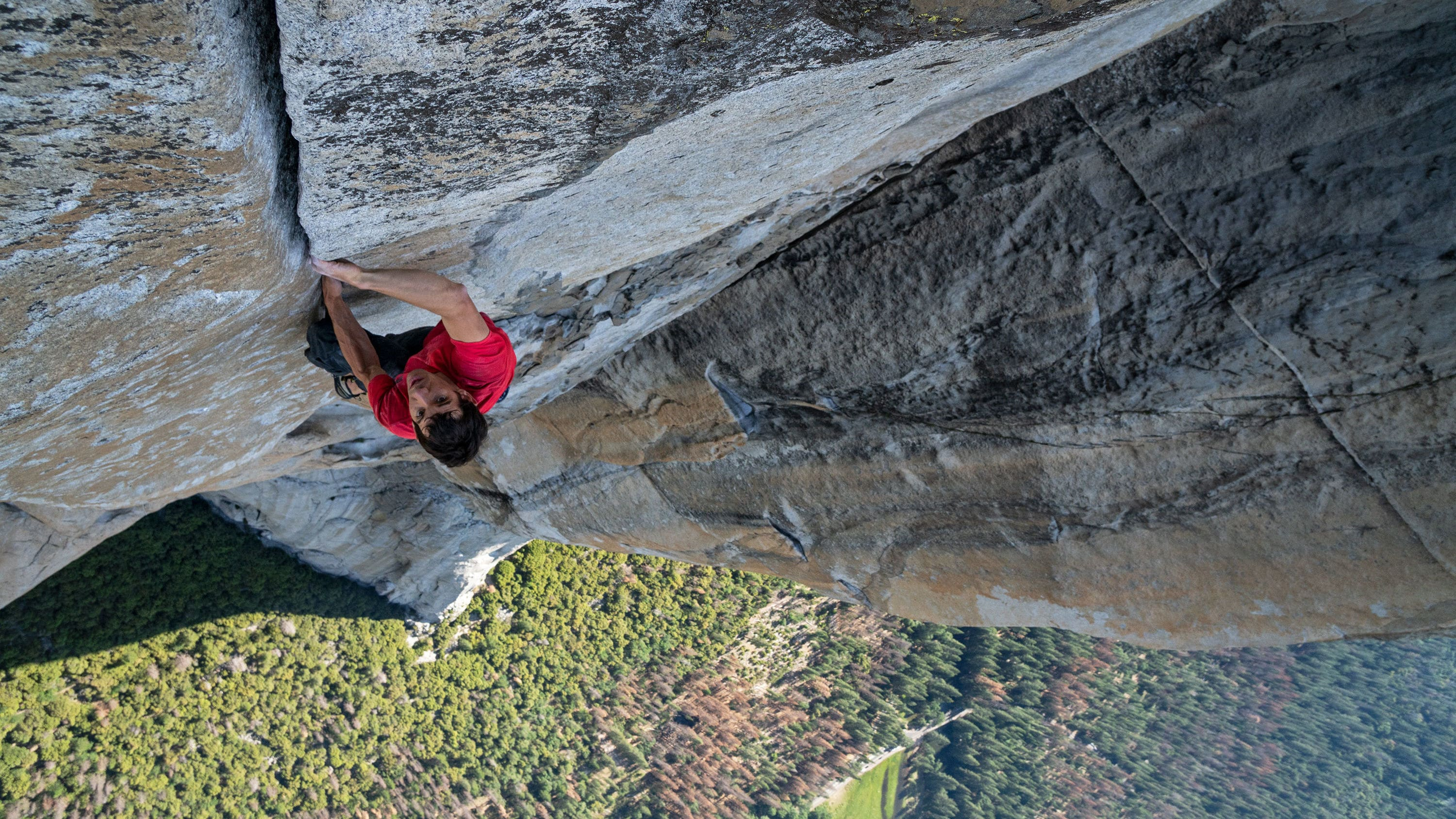 Alex Honnold making the first free solo ascent of El Capitan's Freerider in Yosemite National Park, California. (Photo by National Geographic/Jimmy Chin)