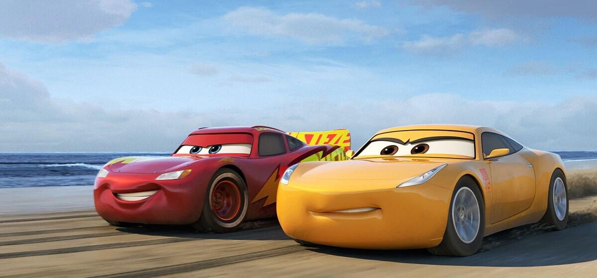 """Lightning McQueen and Cruz Ramirez racing in """"Cars"""""""