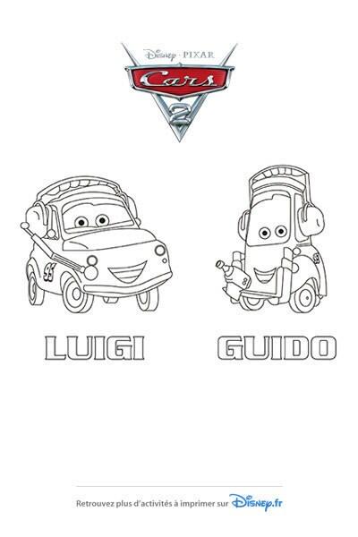 Coloriage Luigi et Guido avant la course !