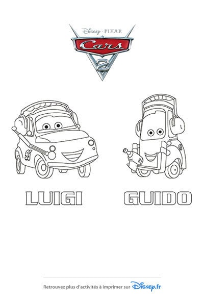 Coloriage Luigi et Guido avant la course !