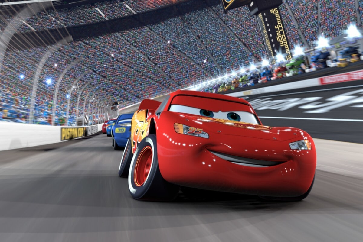"""Ligntning McQueen on a racetrack in """"Cars"""""""
