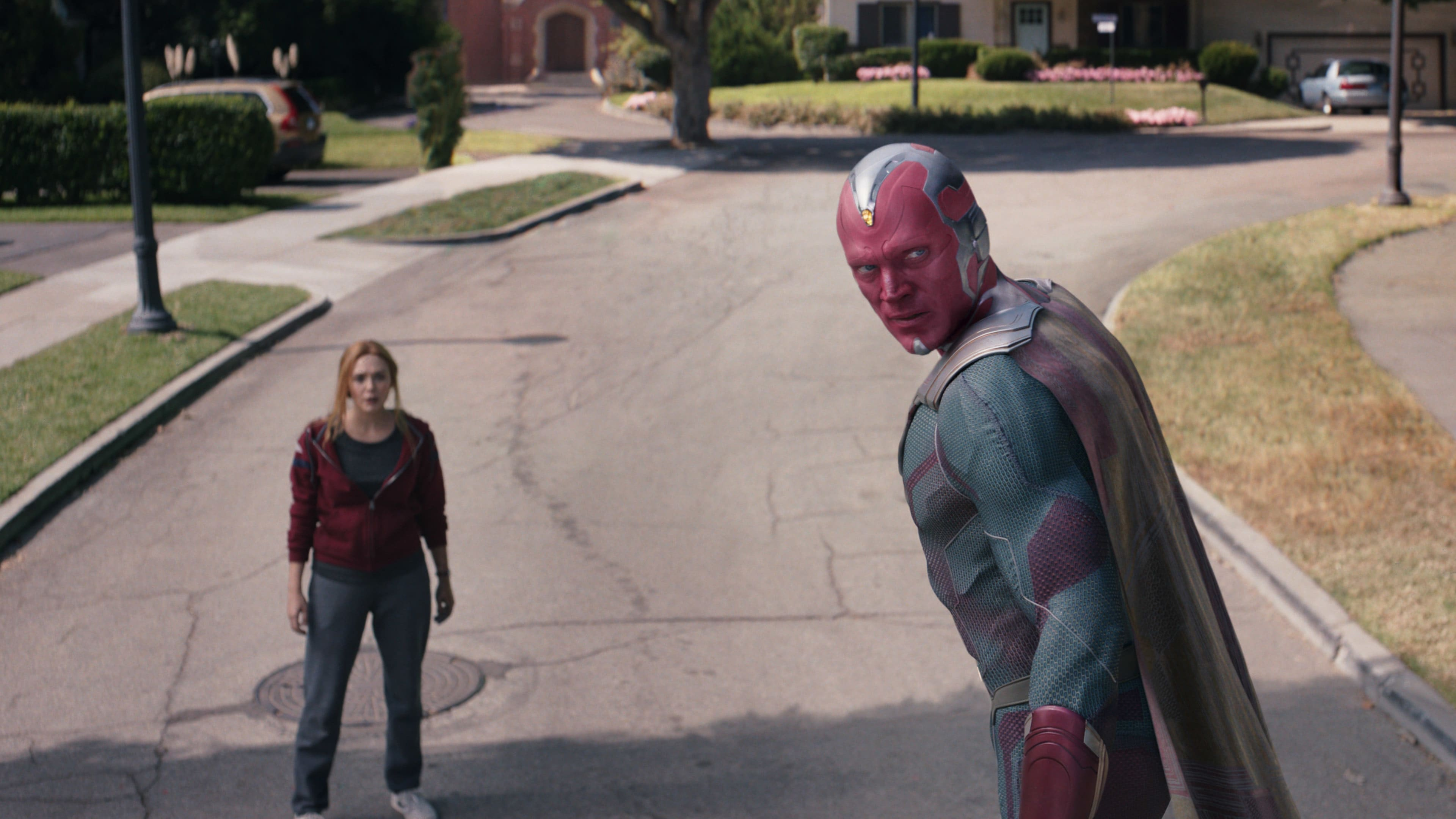 Elizabeth Olsen as Wanda Maximoff and Paul Bettany as Vision in Marvel Studios' WANDAVISION exclusively on Disney+. Photo courtesy of Marvel Studios. ©Marvel Studios 2021. All Rights Reserved.