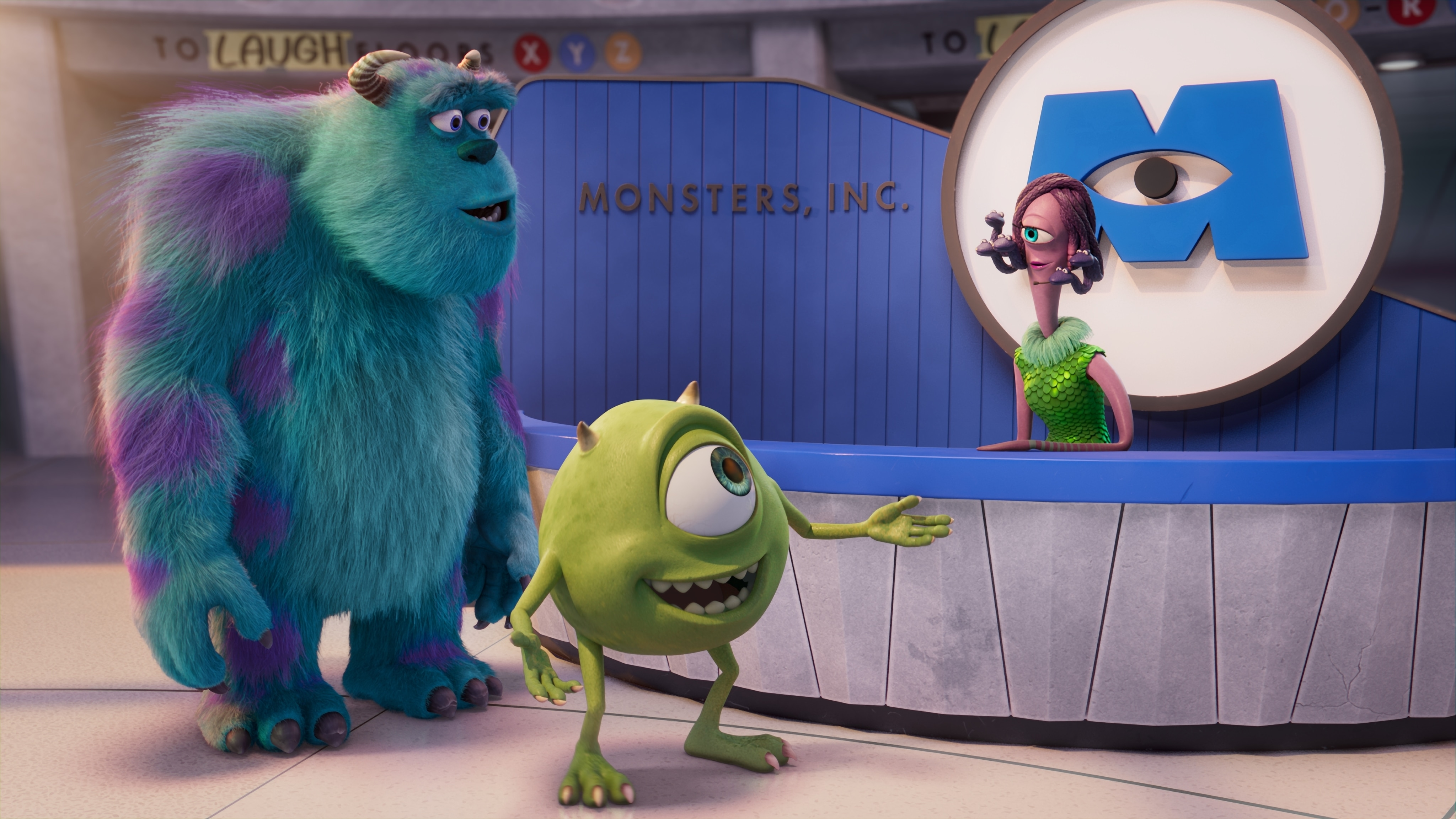 """MONSTERS AT WORK - """"Welcome to Monsters, Incorporated"""" - When Tylor Tuskmon arrives at Monsters Incorporated to begin his dream job as a Scarer, he discovers that scaring is out and laughter is in.  As a result he is temporarily reassigned to MIFT, the Monsters Incorporated Facilities Team. (Disney) SULLEY, MIKE, CELIA"""