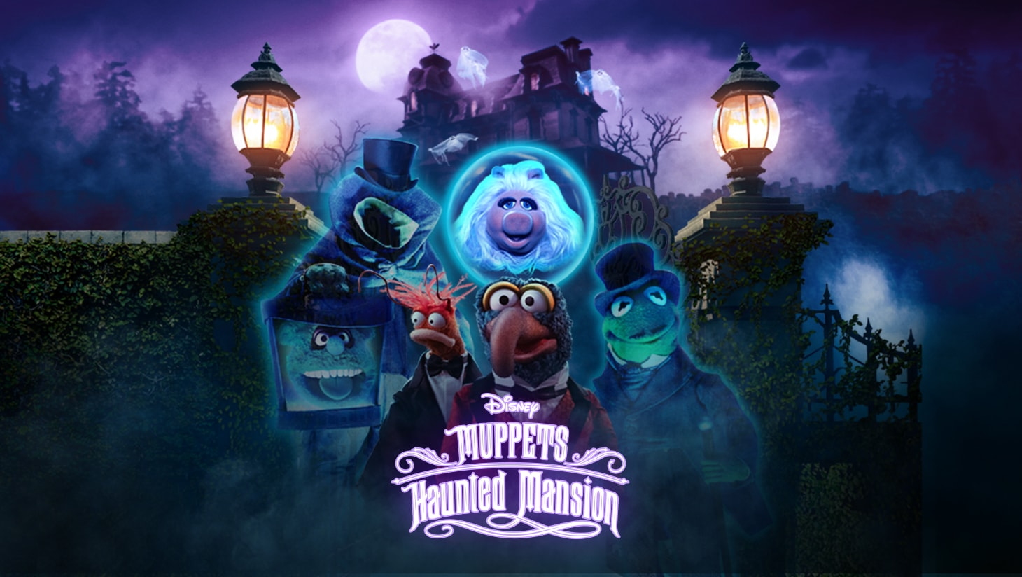 Muppets Haunted Mansion keyart featuring Kermit the Frog, Miss Piggy, Gonzo, and Pepe the King Prawn
