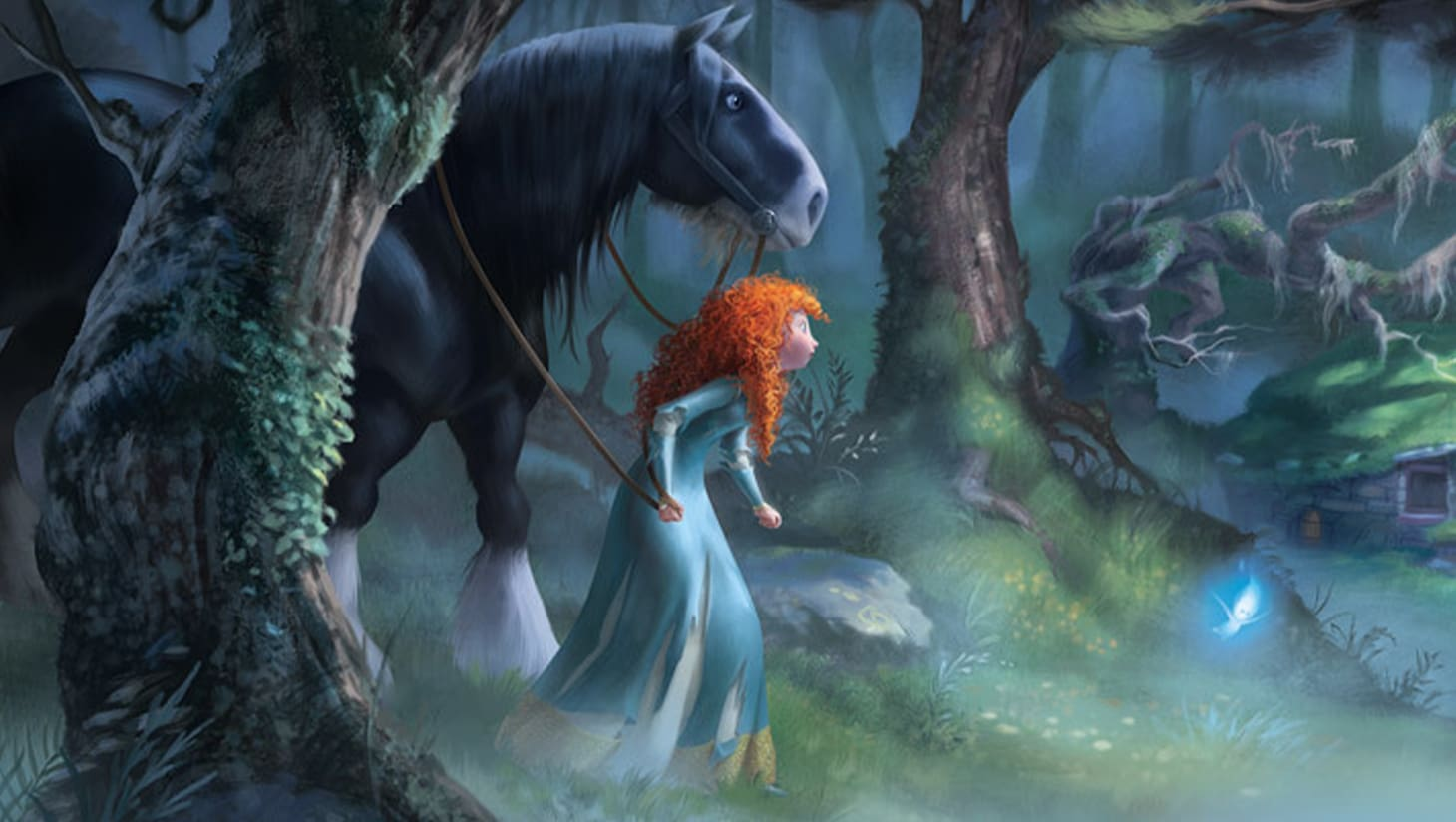 Merida and Angus explore the forest