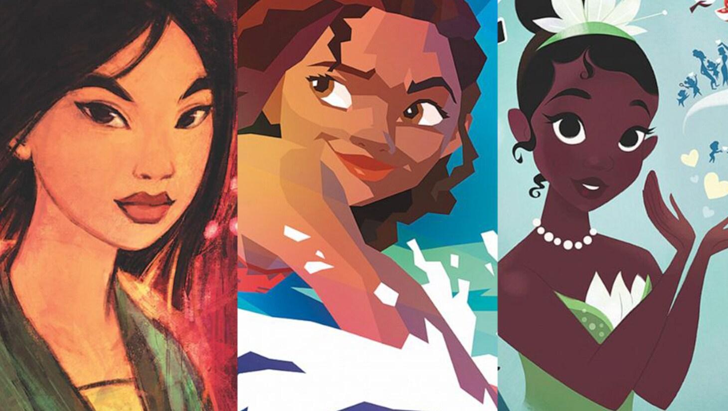 Collage of art of Mulan, Moana, and Tiana