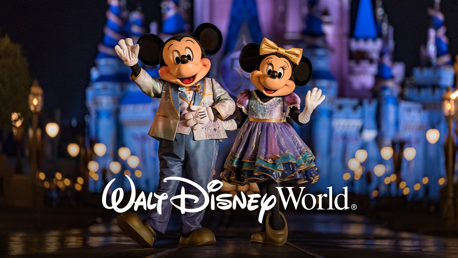 Mickey Mouse and Minnie Mouse in front of Cinderella Castle at Walt Disney World