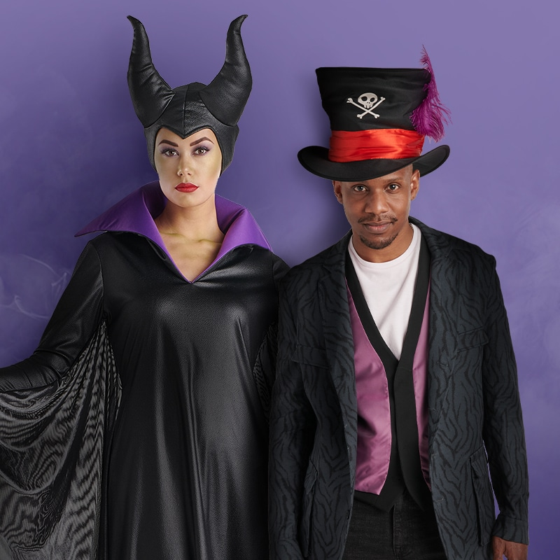 Two models wear a Maleficent and a Dr. Facilier costume
