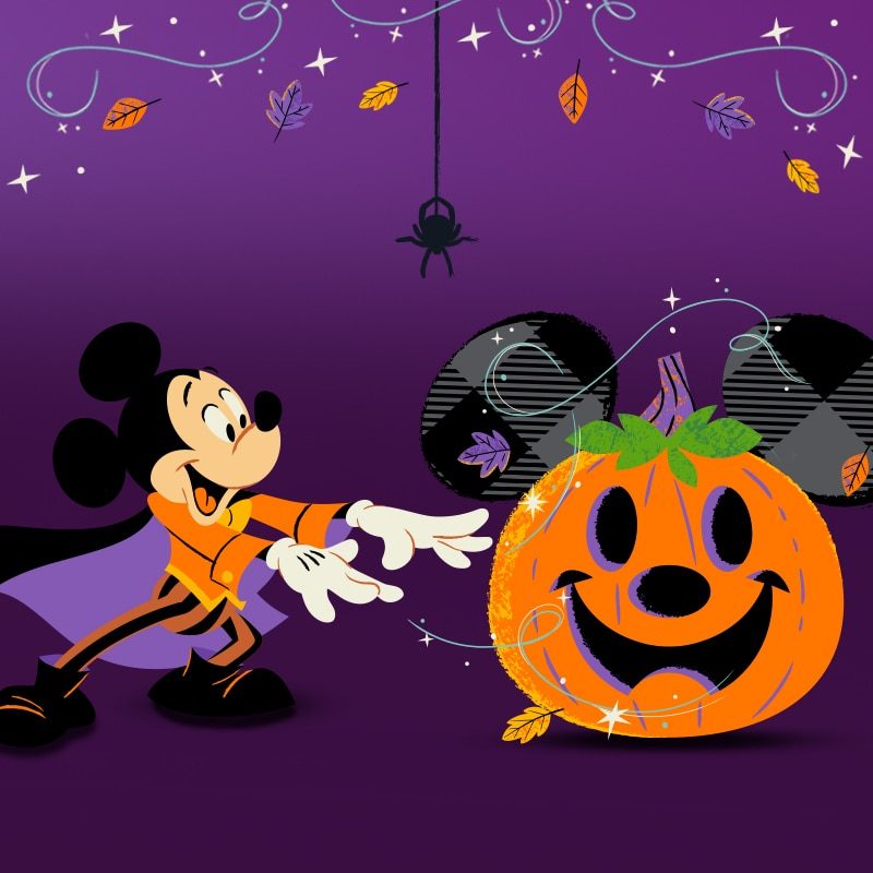 Art featuring Mickey Mouse and a Halloween pumpkin with Mickey ears