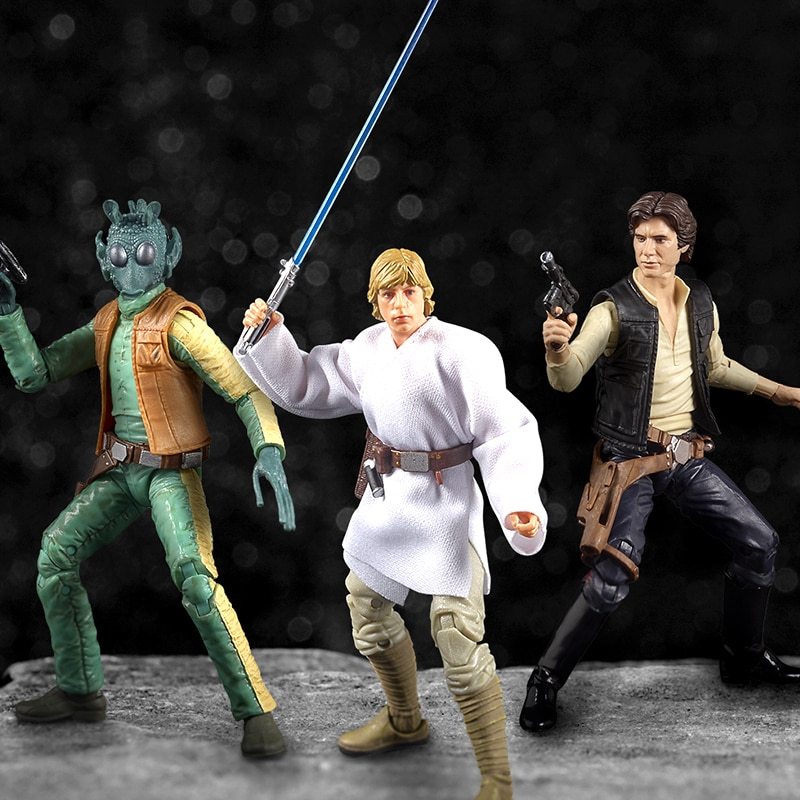 shopDisney Star Wars collectible action figures of Greedo, Luke Skywalker, and Han Solo