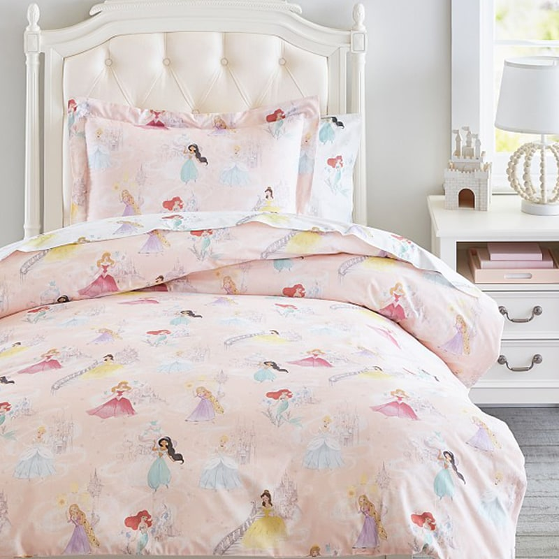 Bed made with Pottery Barn Kids Bedding