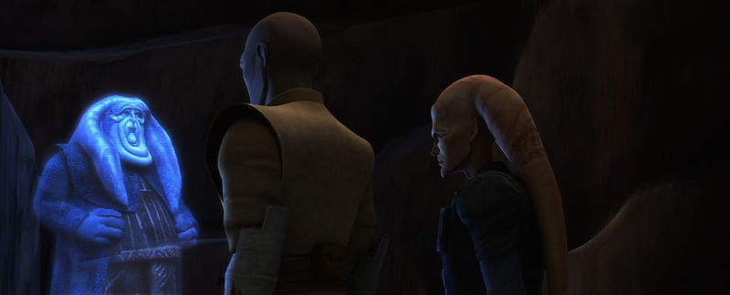 Cham Syndulla and Mace Windu speaking with Orn Free Taa