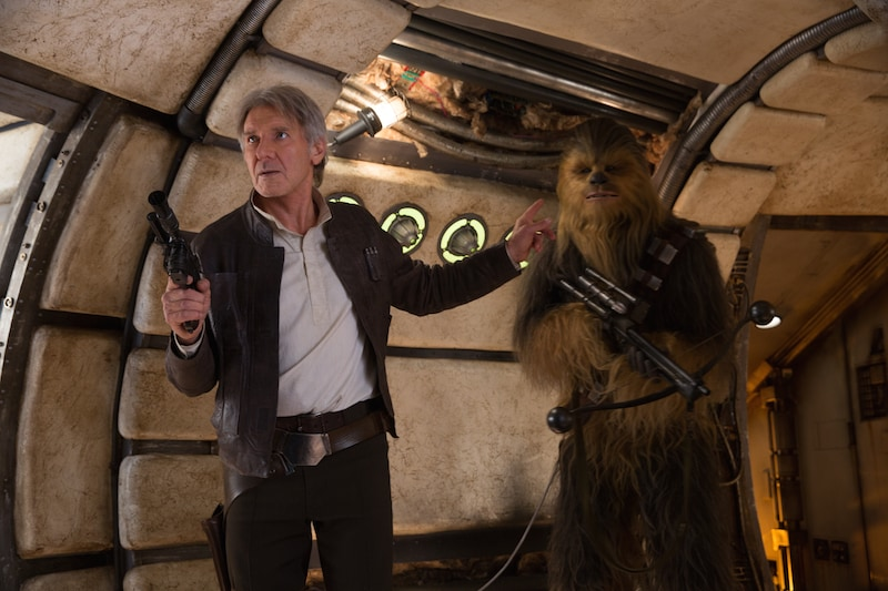 Han Solo and Chewbacca reclaiming the Millennium Falcon