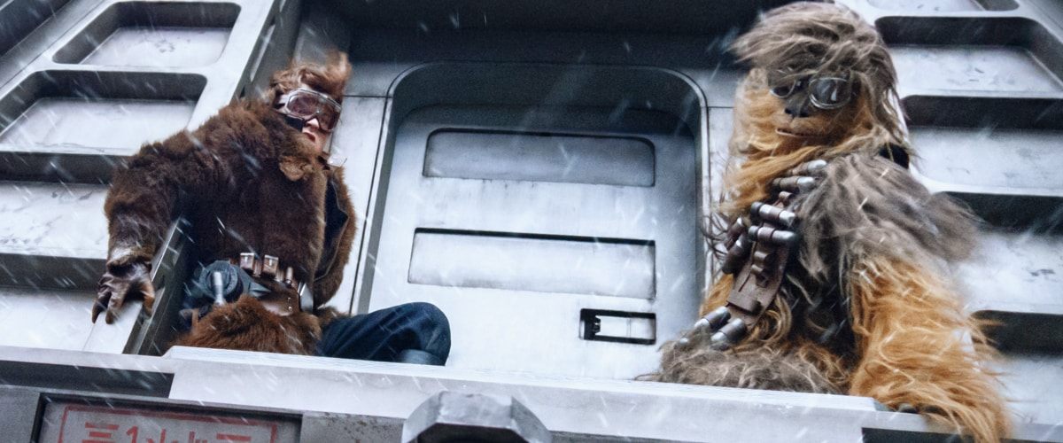 Han Solo and Chewbacca performing a heist on an Imperial conveyex