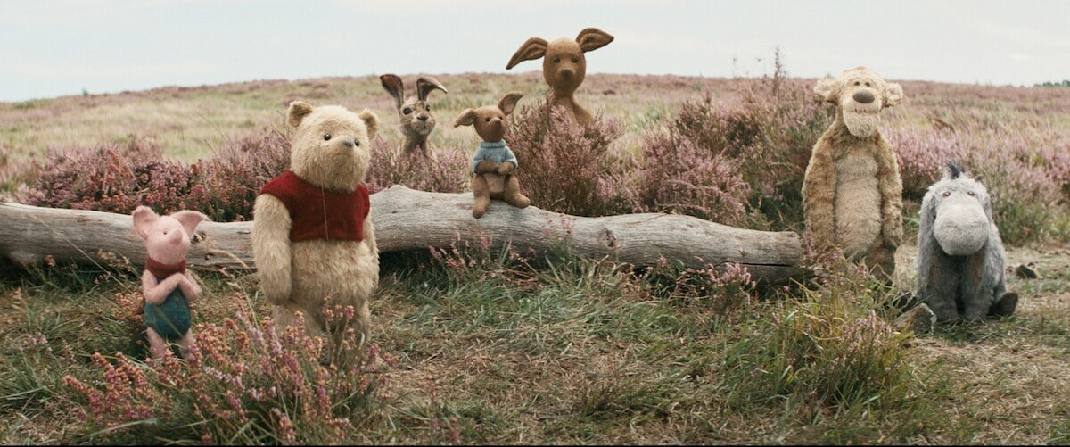 From left to right - Piglet, Winnie the Pooh, Rabbit, Roo, Kanga, Tigger and Eeyore in a field