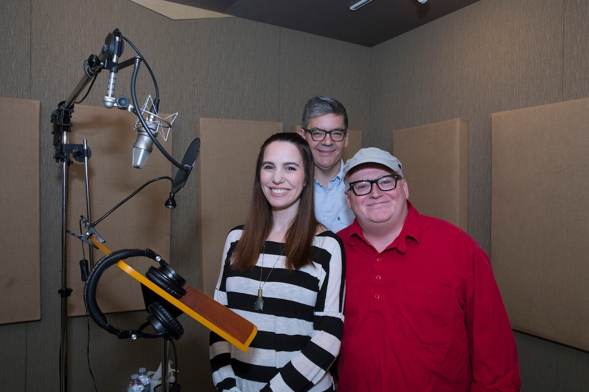 Christy Romano, Bob Schooley and Mark McCorkle in recording booth