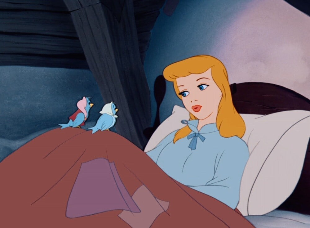 "Animated character Cinderella with birds on her knees from the film ""Cinderella"