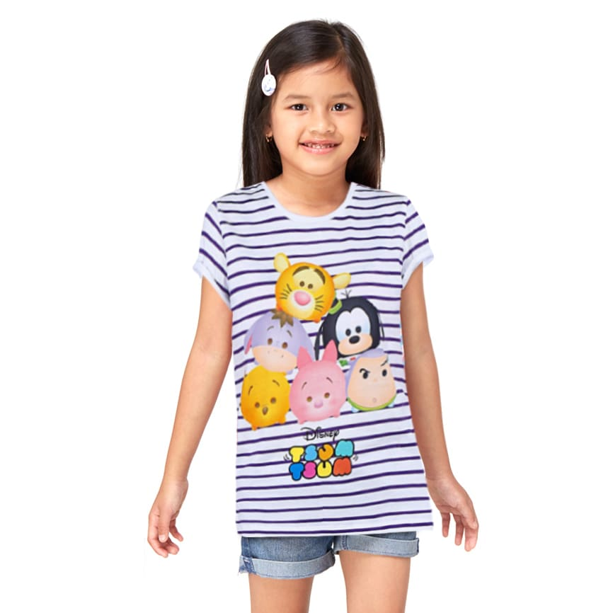 Disney Tsum Tsum Striped T-Shirt Girls Putih