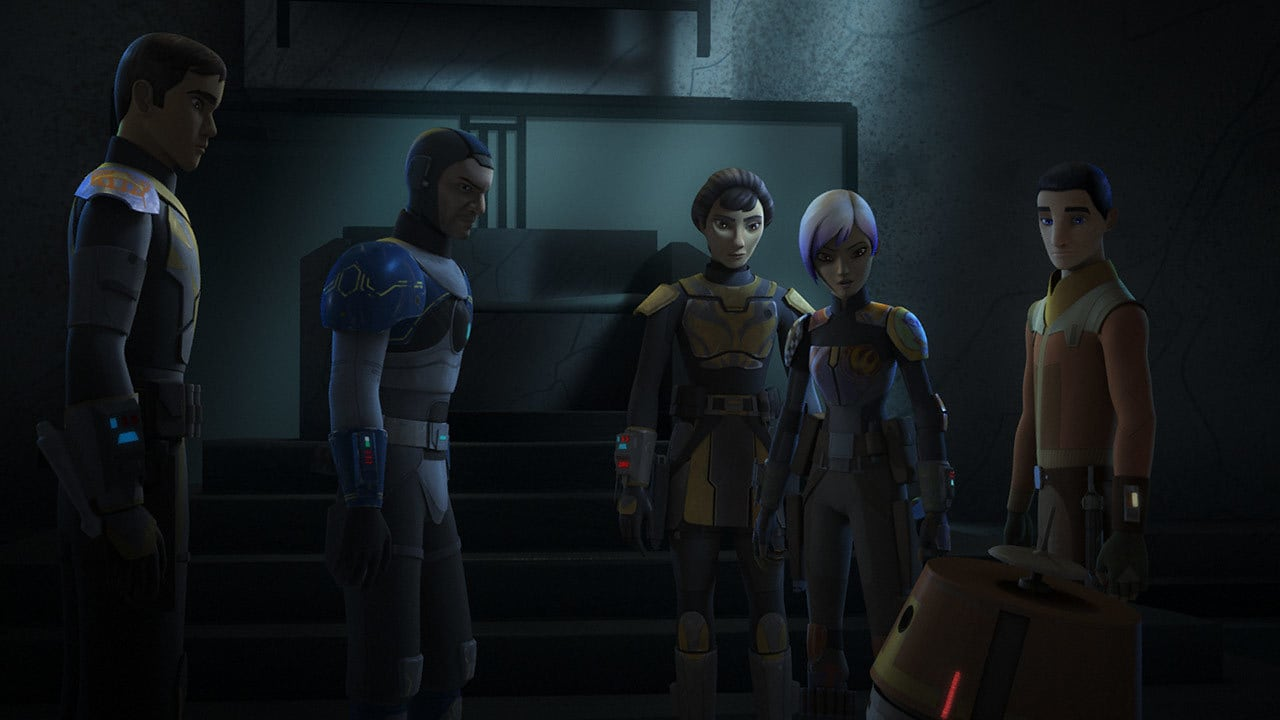 Ezra Bridger, Fenn Rau, and Chopper standing with Ursa, Tristan, and Sabine Wren
