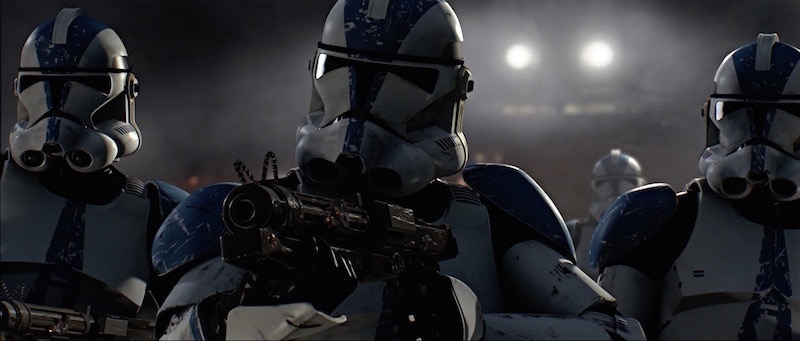 Members of the 501st Legion wearing blue-accented Phase II Clone Trooper Armor
