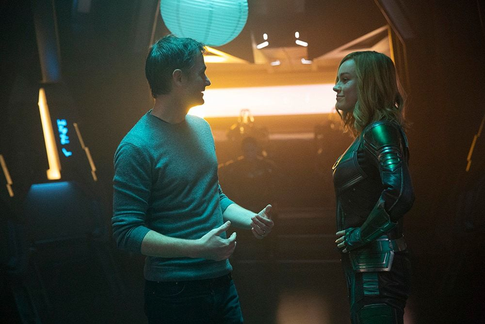 Ryan Fleck and Brie Larson (Captain Marvel) on Kree ship set