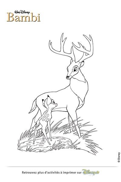 Coloriage Bambi et son papa