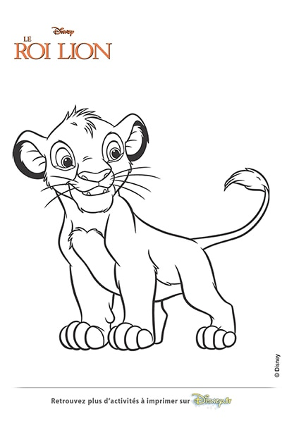 Coloriage simba le lionceau disney coloriages fr - Simba coloriage ...